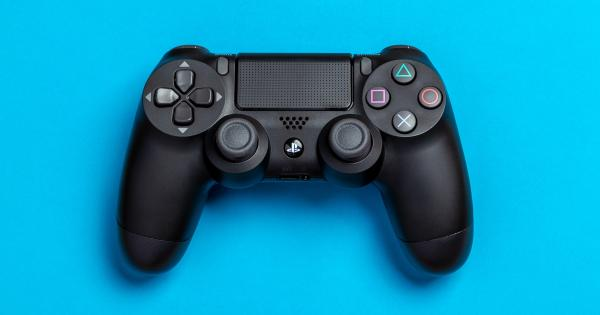 PS4 controller on blue background